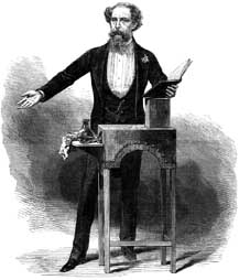 Dickens and his custom-made podium, specially designed by himself so as to not cut his body language off from his audience!