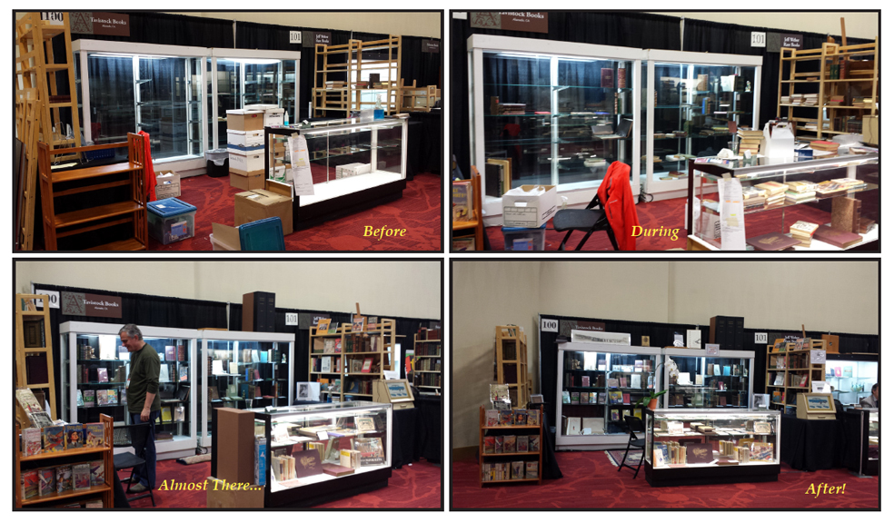 Booth 100: Before, During, Almost There & After! (Photobomb by Joachim Koch of Books Tell You Why).