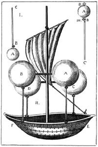 "Original sketch for an aerial ship by ""Father of Aeronautics"" Jesuit priest Francesco Lana de Terzi in 1670."