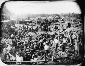 An example image of miners in the California Gold Rush. An interesting image, especially as there is a young girl front and center!