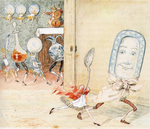 """And the Dish ran away with the Spoon!"" An Illustration by Caldecott, demonstrating his humorous, exciting and moving illustrations."
