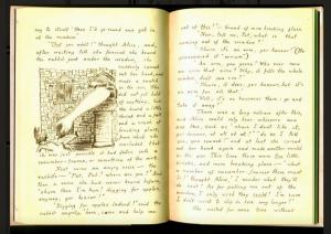 "One of Dodgson's original illustrations in the manuscript ""Alice's Adventures Under Ground""."