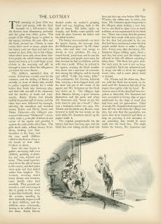 The Lottery's first appearance in The New Yorker.