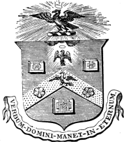 The crest of the Stationers Company in Great Britain.