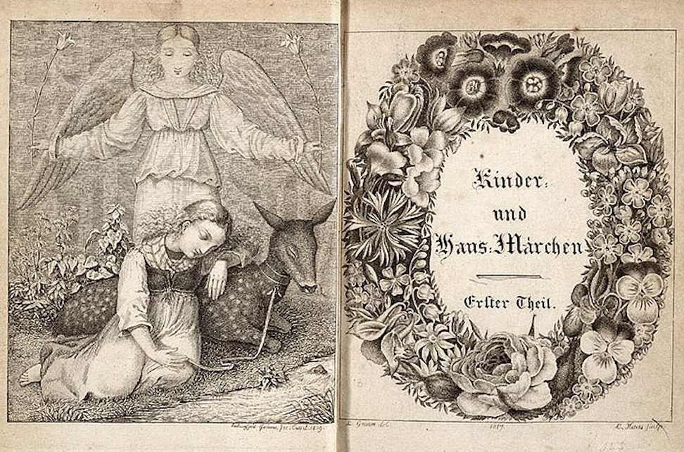 The original title page and frontispiece of the first set of Grimm's folk tales. This frontispiece was illustrated by the brothers' younger brother, Emil.